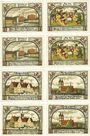 Banknotes Jessnitz. Stadt. Série de 8 billets. 25 pf (4ex), 50 pf (4ex) 1.9.1921