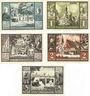 Banknotes Jever. Sparkasse der Stadt. Série de 5 billets. 50 pf, 1 mark, 1,50 mark, 2 mark, 3 mark (1922)