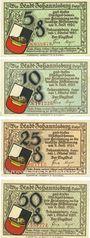 Banknotes Joannisburg (Pisz, Pologne). Stadt. Série de 4 billets. 5 pf, 10 pf, 25 pf, 50 pf 1.10.1920