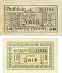 Banknotes Juist. Insel. Gemeinde. Billets. 50 pf 4.7.1919, 10 pf 1.4.1920