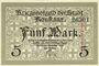 Banknotes Konstanz. Stadt. Billet. 5 mark novembre 1918