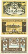 Banknotes Konstanz. Stadt. Série de 3 billets. 5, 10, 20 mark novembre 1918