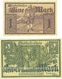 Banknotes Stadt. Billets. 1 mark, 2 mark 1.12.1918, originaux, annulation par cachet ENTWERTET