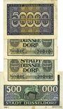 Banknotes üsseldorf. Billets. 50000 mk série 1, 100000 mk série 15 et 23, 500000 mk série 5, 1923