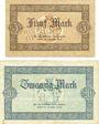 Banknotes Allemagne, Lippe, Fürstlich Lippische Regierung, Detmold, billets, 5 mark, 20 mark 13.11.1918