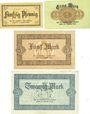 Banknotes Allemagne, Lippe, Fürstlich Lippische Regierung, Detmold, billets 50 pf, 1, 5, 20 mk 13.11.1918