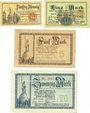 Banknotes Allemagne, Lippe, Fürstlich Lippische Regierung, Detmold, billets, 50 pf, 1, 5, 20 mk 13.11.1918