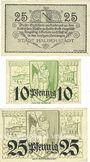 Banknotes Halberstadt. Stadt. Billets. 25 pf 1.10.1918, 10 pf, 25 pf 10.2.1920
