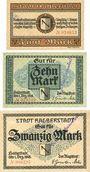 Banknotes Halberstadt. Stadt. Billets. 5, 10, 20 mark 1.12.1918, annulation par cachet ENTWERTET