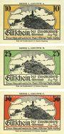 Banknotes Kahla. Leuchtenburg-Wirtschaft. Série de 3 billets. 10, 25, 50 pf, 1ère série : Walpurgisnacht