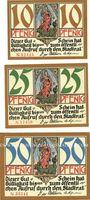 Banknotes Kahla. Stadt. Série de 3 billets. 10 pf, 25 pf, 50 pf 1921, série rues de la ville