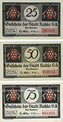 Banknotes Kahla. Stadt. Série de 3 billets. 25 pf, 50 pf, 75 pf 15.8.1921, série Muck