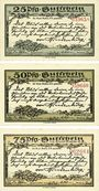 Banknotes Kahla. Stadt. Série de 3 billets. 25 pf, 50 pf, 75 pf 15.9.1921, série Hindenbourg II