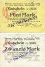 Banknotes Kaiserslautern. Pfälzische Nähmaschinen= & Fahrräder,  Fabrik vorm Gebrüder Kayser. Billets 5, 20 mk