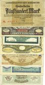 Banknotes Karlsruhe. Stadt. Billets. 500000 (2ex), 100000, 2, 5 millions, 5, 20 milliards mk 1922-23