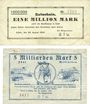 Banknotes Kehl. Stadt. Billets. 1 million mark 23.8.1923, 5 milliards mark 26.10.1923