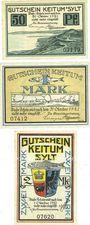 Banknotes Keitum / Stylt. Gemeinde. Billets. 50 pf, 1 mark n.d. - 31.10.1921, 2 mark n.d. - 1.10.1921