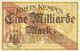 Banknotes Kempen a. Rhein. Kreis. Billet. 1 milliard mark 25.9.1923