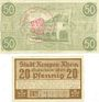Banknotes Kempen a. Rhein. Stadt. Billets. 50 pf 30.8.1918, 20 pf 9.3.1920