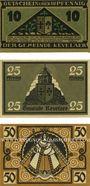 Banknotes Kevelaer. Gemeinde. Série de 3 billets. 10 pf, 25 pf, 50 pf 1.6.1921