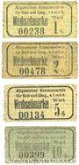 Banknotes Kiel. Allgemeiner Konsumverein für Kiel und Umg. e.G.m.b.H. Billets. 1 pf, 2 pf, 5 pf, 10 pf