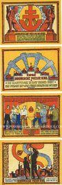 Banknotes Kiel. Nordische Messe. Série de 4 billets. 10 pf, 25 pf, 50 pf, 1 mark 15-18.9.1921-15.10.1921