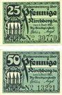 Banknotes Kirchberg Sa. Stadt. Billets. 25 pf, 50 pf 1.7.1921