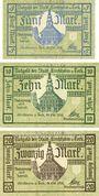 Banknotes Kirchheim u. Teck. Stadt. Billets. 5, 10, 20 mark 31.10.1918. Annulation par cachet Ungültig