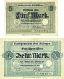 Banknotes Kissingen, Bad. Stadt. Billets. 5, 10 mark 20.10.1918. Edition originale