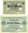 Banknotes Kissingen, Bad. Stadt. Billets. 5, 10 mark 20.10.1918, sans numérotation