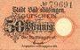 Banknotes Kissingen. Stadt. Billet. 50 pf 1918. Original