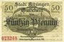 Banknotes Kitzingen. Stadt. Billet. 50 pf oct 1918