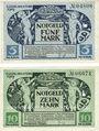 Banknotes Kitzingen. Stadt. Billets. 5 mark, 10 mark 8.11.1918. Annulation par perforation