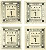 Banknotes Kitzingen. Städtische Sparkasse. 1 pf 1920, type avec filigrane, 4 ex avec légendes différentes