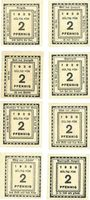 Banknotes Kitzingen, Städtische Sparkasse, 2 pf 1920, type avec filigrane, 8 ex avec légendes différentes