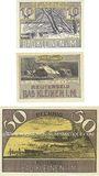Banknotes Kleinen, Bad. Gemeinde. Série de 3 billets. 10 pf, 25 pf, 50 pf (juin 1922), Reutergeld