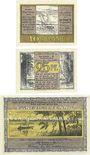 Banknotes Kleinen, Bad. Gemeinde. Série de 3 billets 10 pf, 25 pf, 50 pf (juin 1922). Reutergeld