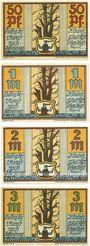 Banknotes Klodnitz-Oderhafen (Klodnica, Pologne). Gemeinde. Billets. 50 pf, 1 mark, 2 mark, 3 mark 1.7.1921