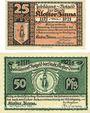 Banknotes Kloster Zinna. Stadt. Série de 2 billets. 25 pf, 50 pf 7.9.1920