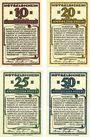 Banknotes Koberg. Amtsbezirk. Série de 4 billets. 10 pf, 20 pf, 25 pf, 50 pf (1921)