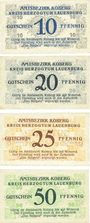 Banknotes Koberg. Amtsbezirk. Série de 4 billets. 10 pf, 20 pf, 25 pf, 50 pf 3.3.1921