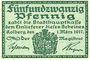 Banknotes Kolberg (Kolobrzeg, Pologne). Stadt. Billet. 25 pf 1.3.1917, revers : vert foncé