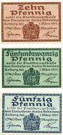 Banknotes Kolberg (Kolobrzeg, Pologne). Stadt. Série de 3 billets. 10 pf, 25 pf, 50 pf 1.3.1917