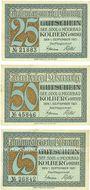 Banknotes Kolberg (Kolobrzeg, Pologne). Stadt. Série de 3 billets. 25 pf, 50 pf, 75 pf, 1.9.1921