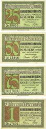 Banknotes Kolberg (Kolobrzeg, Pologne). Stadt. Série de 4 billets. 25 pf, 50 pf, 75 pf, 1 mk 1.9.1921