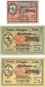 Banknotes Königsee. Stadt. Billets. 10 pf, 25 pf, 50 pf 1.1.1921