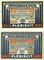 Banknotes Königshütte (Chorzow, Pologne). Stadt. Billets. 25 pf 20.3.1921 (2ex)