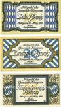 Banknotes Königssee. Gemeinde. Série de 3 billets. 10 pf, 20 pf, 25 pf 26.3.1921