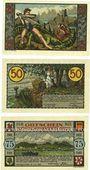 Banknotes Königswinter. Verkehrsverein. Série de 3 billets. 25 pf, 50 pf, 75 pf 15.7.1921