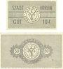 Banknotes Körlin a. Persante (Karlin, Pologne). Stadt. Billets. 10 pf, 50 pf 1.5.1920